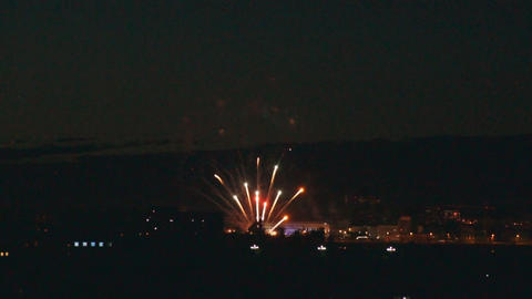 Festive Blagoveshchensk fireworks Stock Video Footage
