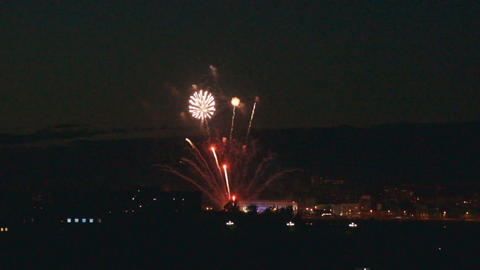 Festive Blagoveshchensk fireworks Stock Video Footage