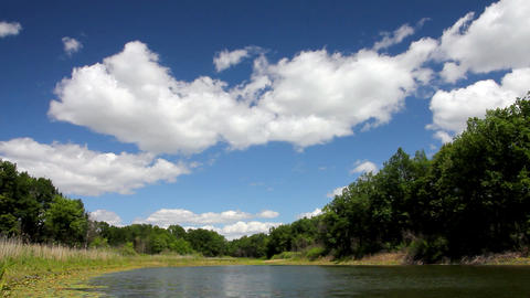 landscape with clouds over lake Footage