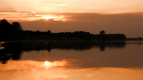 landscape with sunset over river Stock Video Footage