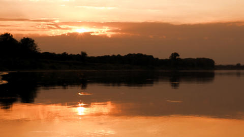 landscape with sunset over river Footage