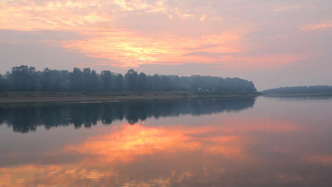 Landscape With River At Dawn stock footage