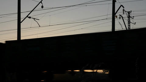 timelapse with freight train against sunset Stock Video Footage