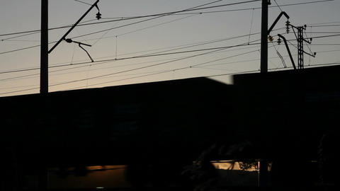 Timelapse With Freight Train Against Sunset stock footage