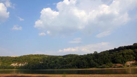 summer river landscape with floating boat - timela Stock Video Footage