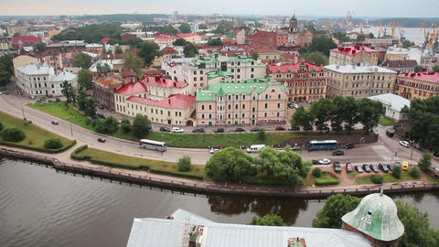 Vyborg in Russia - view from height of medieval to Footage