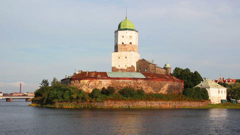 old sweden castle on island in vyborg russia Stock Video Footage