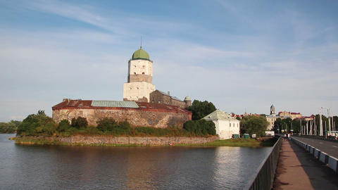 old sweden castle on island in vyborg russia - tim Footage