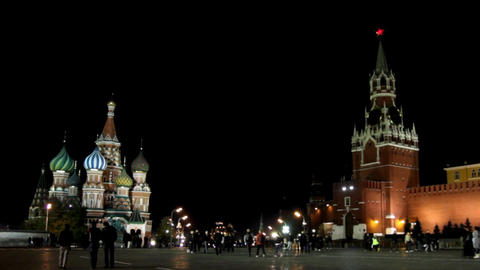 Kremlin and temple on Red square in Moscow - timel Stock Video Footage