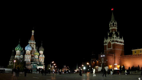 Kremlin and temple on Red square in Moscow - timel Footage