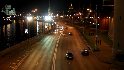 Moscow night road near Kremlin - timelapse Stock Video Footage