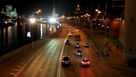 Moscow night road near Kremlin - timelapse Footage