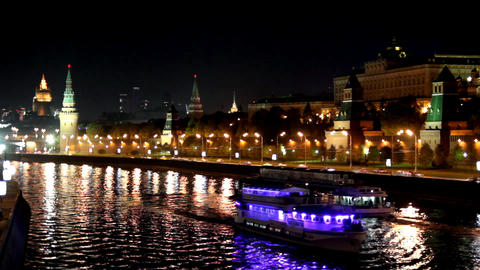 Moscow Kremlin river night landscape with ships -  Footage