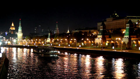 Moscow Kremlin river night landscape with ships - Stock Video Footage