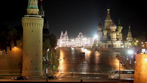 Moscow Kremlin night landscape - timelapse Stock Video Footage
