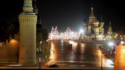 Moscow Kremlin night landscape - timelapse Footage