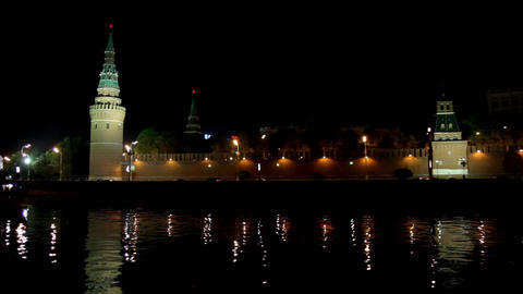 Moscow Kremlin river night landscape with ship Stock Video Footage