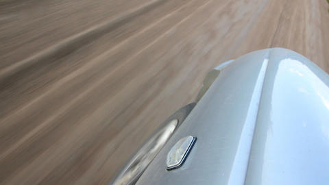 Wheel Of Car Moving On Track stock footage