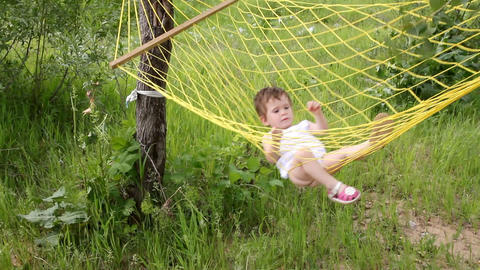 baby relax in hammock Stock Video Footage