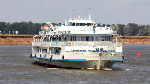timelapse - passenger ship floating in the river Footage