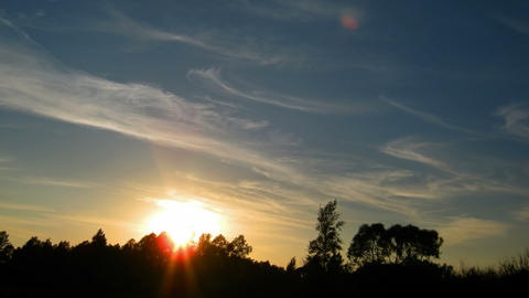 timelapse with sunset over forest Stock Video Footage