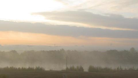 rural mist landscape with sunrise over lake Footage