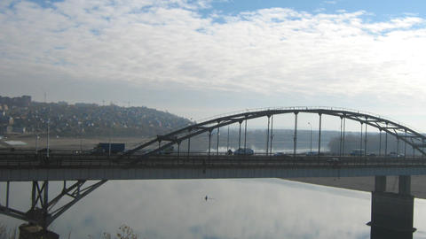 View on bridge in Ufa, Russia - timelapse Stock Video Footage