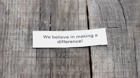 We believe in Making a difference Stock Video Footage