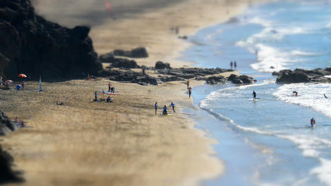 surf school beach live tilt shift time lapse 11121 Stock Video Footage
