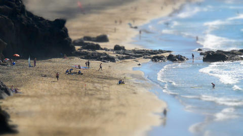 Surf School Beach Live Tilt Shift Time Lapse 11121 stock footage