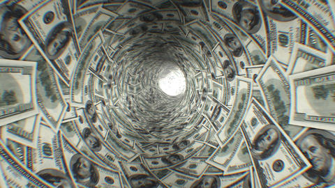 Dollars tunnel. First 250 frames are loop-able. HD Stock Video Footage