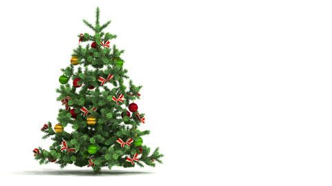 Beautiful Christmas tree looped on white backgroun Stock Video Footage