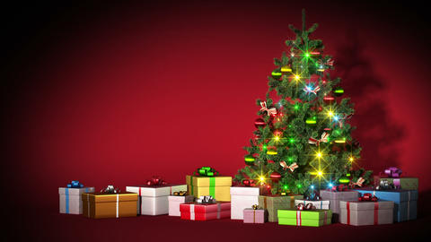 Beautiful Christmas tree with gifts. HD 1080. Loop Animation