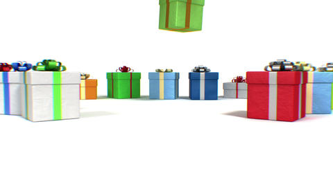 Many Gifts different colors falling on white floor Stock Video Footage