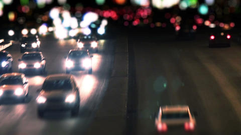 Traffic on the Highway at Night. Time Lapse. HD 10 Stock Video Footage