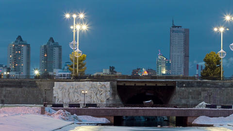 Dam with the Olympic clock, Yekaterinburg. Time La Footage