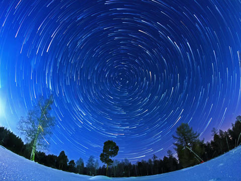 Stars leave traces. Fisheye. Time Lapse. 4x3 Footage