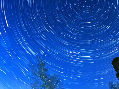 Stars leave traces. Fisheye. Time Lapse Footage