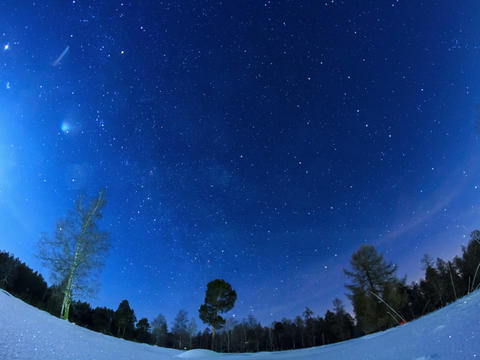 Milky Way in the night sky. Fisheye. Time Lapse. 4 Stock Video Footage