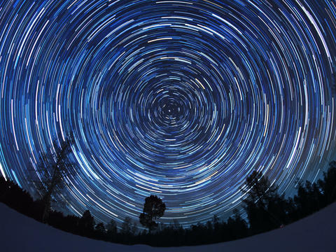 Star tracks. Fisheye. Time Lapse. 4x3 Footage