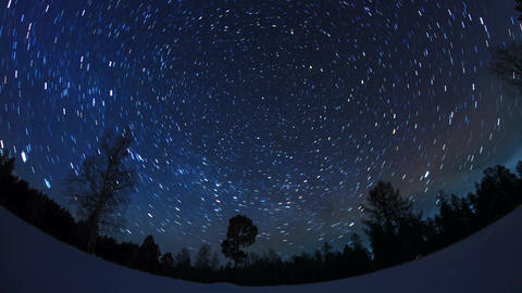 Star tracks. Fisheye. Time Lapse Stock Video Footage