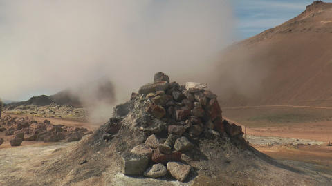 loud noising fumarole in iceland Stock Video Footage