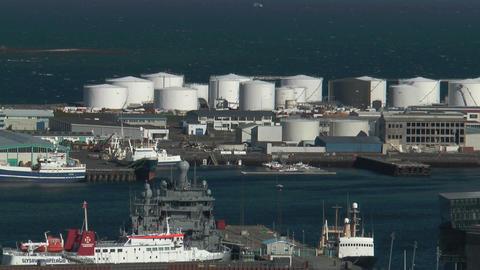 Reykjavik harbor view from church tower medium sho Stock Video Footage