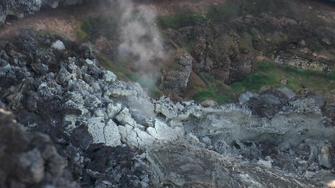 volcanic crater smoking closeup Stock Video Footage