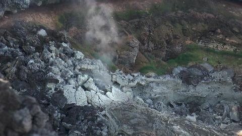 volcanic crater smoking closeup Stock Video Footage