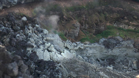 volcanic crater smoking closeup Footage