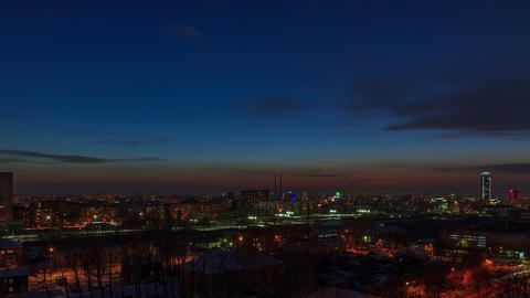 From day to night. City wakes up. Time Lapse Footage
