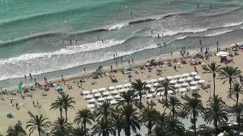 Alicante Spain 22 aerial beach Stock Video Footage