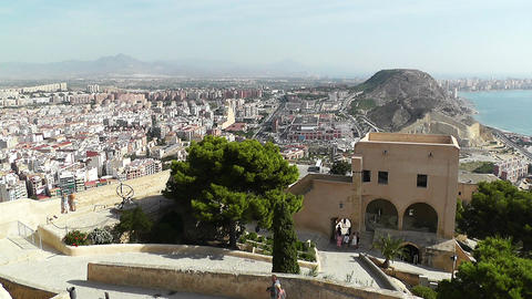 Alicante Spain 25 Castle Santa Barbara Stock Video Footage