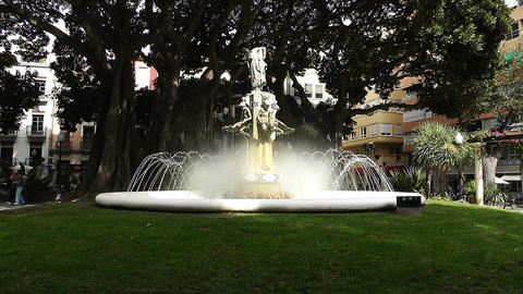 Alicante Spain 36 Plaza Gabriel Miro fountain Stock Video Footage